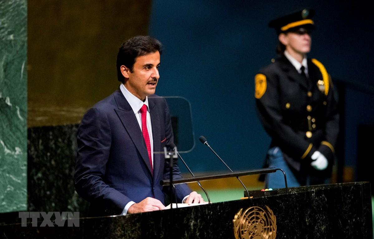 Quốc vương Qatar, Sheikh Tamim bin Hamad al-Thani phát biểu tại phiên họp Đại hội đồng Liên hợp quốc ở New York. Mỹ ngày 25/9. (Ảnh: THX/TTXVN)