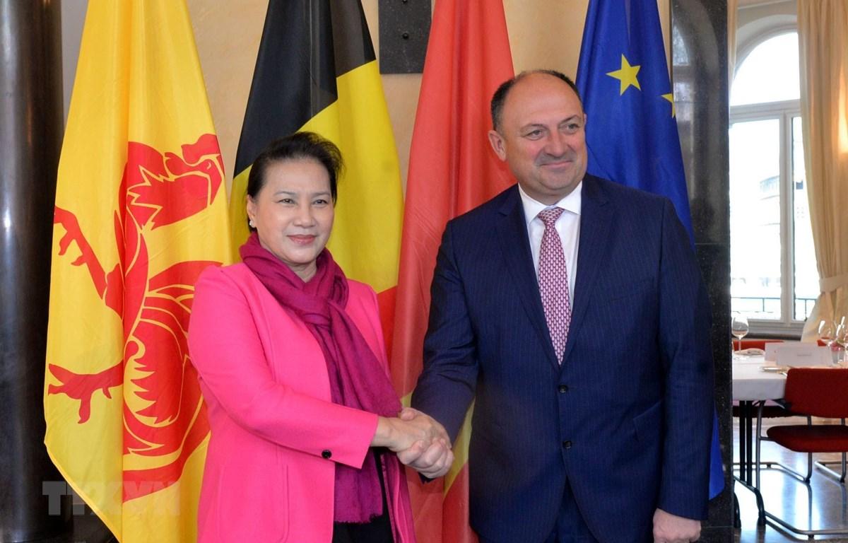 Chủ tịch Quốc hội Nguyễn Thị Kim Ngân gặp Bộ trưởng kiêm Chủ tịch vùng Wallonie Willy Borsus. (Ảnh: Trọng Đức/ TTXVN)