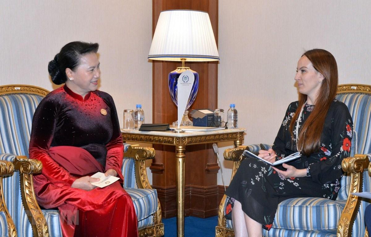 Chủ tịch Quốc hội Nguyễn Thị Kim Ngân hội kiến Chủ tịch IPU Gabriela Cuevas Barron. (Ảnh: Trọng Đức/TTXVN)