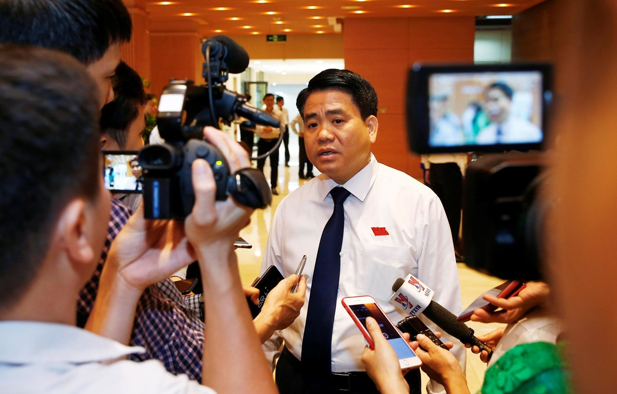 Chủ tịch Ủy ban Nhân dân thành phố Hà Nội Nguyễn Đức Chung. (Ảnh: Lâm Khánh/TTXVN)