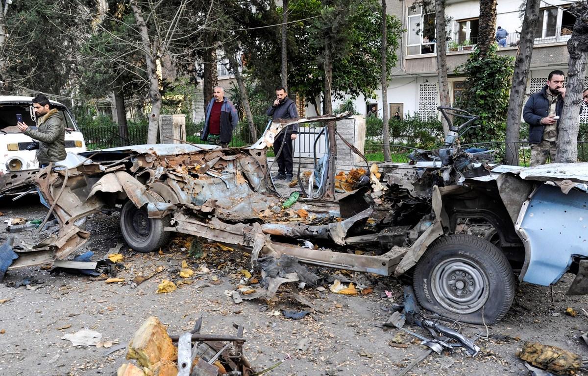 Hiện trường một vụ đánh bom ở Damascus, Syria, ngày 24/1/2019. (Ảnh: AFP/TTXVN)