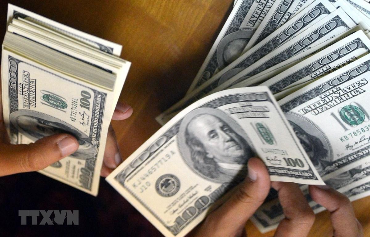 Kiểm đồng USD tại một cửa hàng đổi tiền ở Jakarta, Indonesia. (Nguồn: AFP/TTXVN)