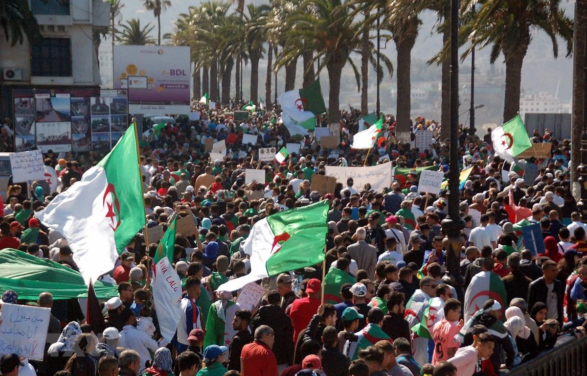 Biểu tình phản đối chính phủ tại thành phố biển Oran, Algeria ngày 9/4. (Ảnh: AFP/TTXVN)