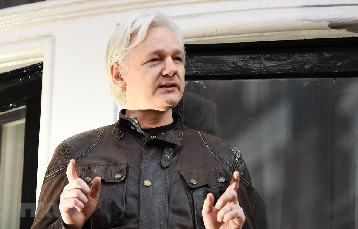 Nhà sáng lập Wikileaks Julian Assange tại Đại sứ quán Ecuador ở London, Anh ngày 19/5/2017. (Ảnh: AFP/ TTXVN)