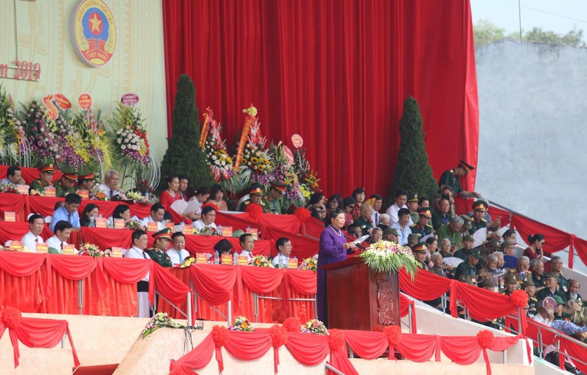 Bà Tòng Thị Phóng, Ủy viên Bộ Chính trị, Phó Chủ tịch Thường trực Quốc hội đọc diễn văn tại buổi lễ. (Ảnh: Tuấn Anh/TTXVN)