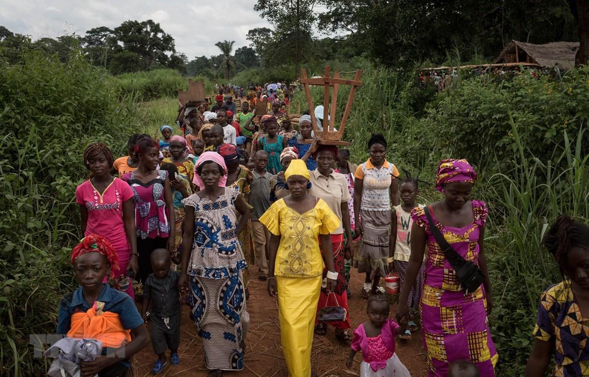 Người tị nạn từ CH Trung Phi lánh nạn tại Ndu, CHDC Congo .(Nguồn: AFP/TTXVN.)