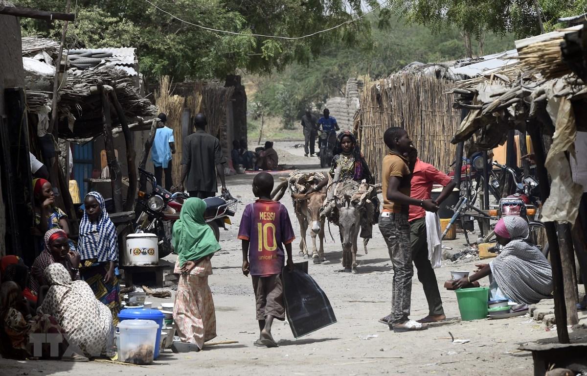 Người dân tại một khu chợ ở Nougboua, khu vực hồ Chad, CH Chad ngày 6/4/2015. (Ảnh: AFP/ TTXVN)