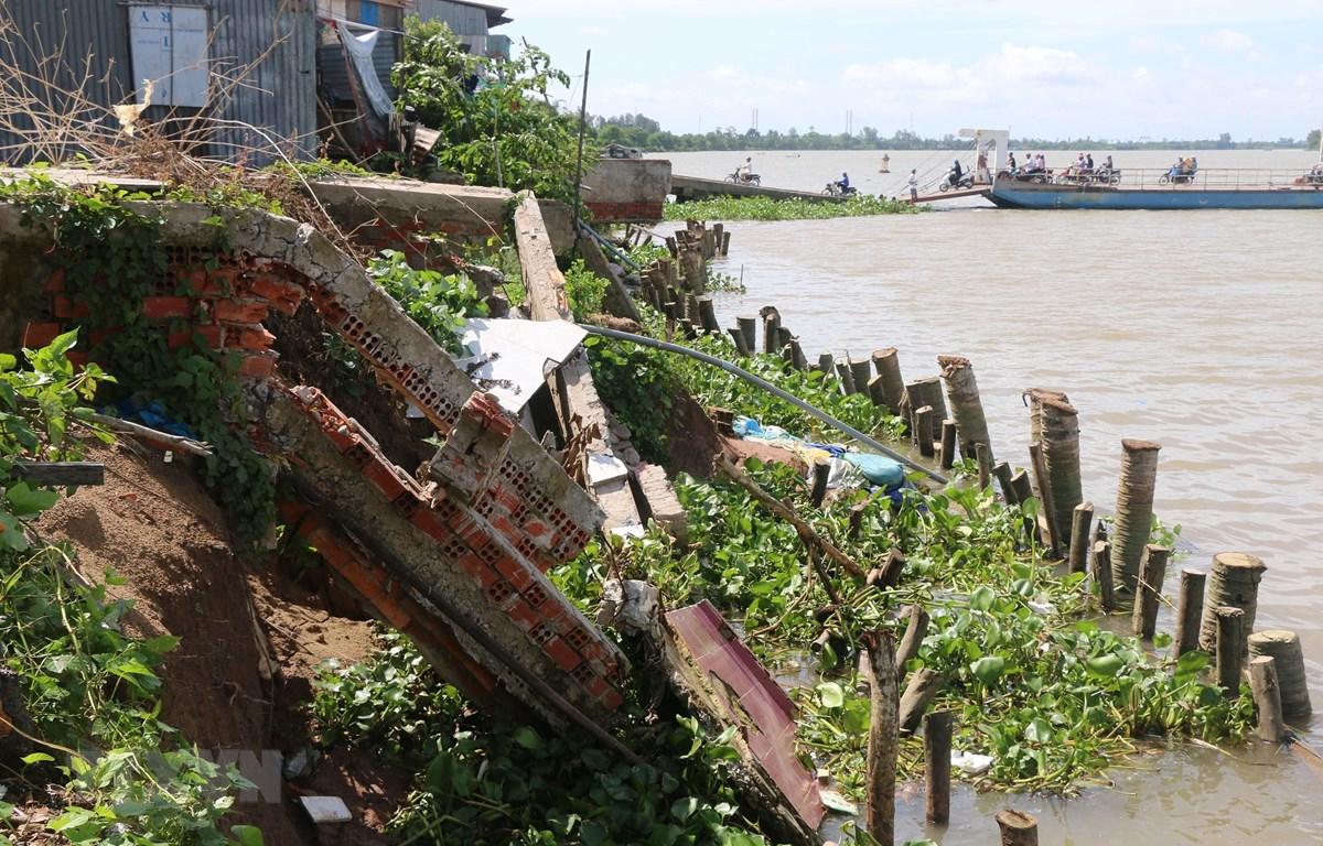 Tình trạng sạt lở bờ sông Tiền tại tỉnh Đồng Tháp vẫn diễn biến phức tạp. (Ảnh: Nguyễn Văn Trí/TTXVN)