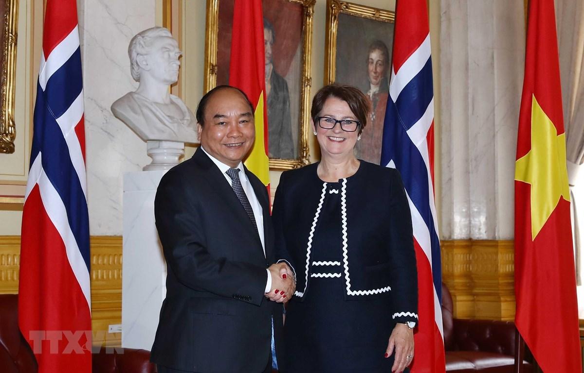 Thủ tướng Nguyễn Xuân Phúc hội kiến Chủ tịch Quốc hội Na Uy, bà Tone Wilhelmsen Troen. (Ảnh: Thống Nhất – TTXVN)