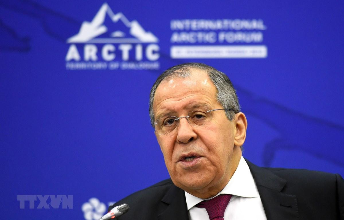 Ngoại trưởng Nga Sergey Lavrov phát biểu tại một diễn đàn ở Saint Petersburg ngày 9/4/2019. (Ảnh: AFP/TTXVN)