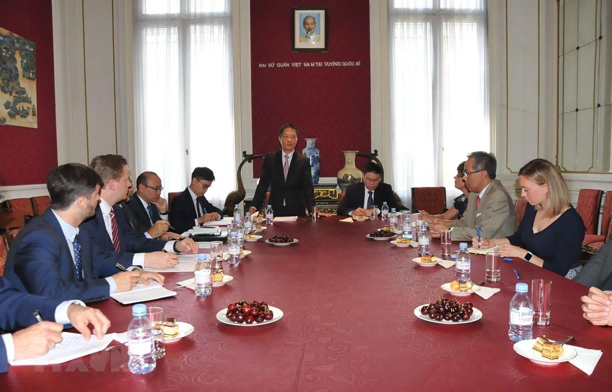 Bộ trưởng Trần Tuấn Anh phát biểu tại buổi gặp gỡ với các Hiệp hội doanh nghiệp châu Âu. (Ảnh: Kim Chung/TTXVN)
