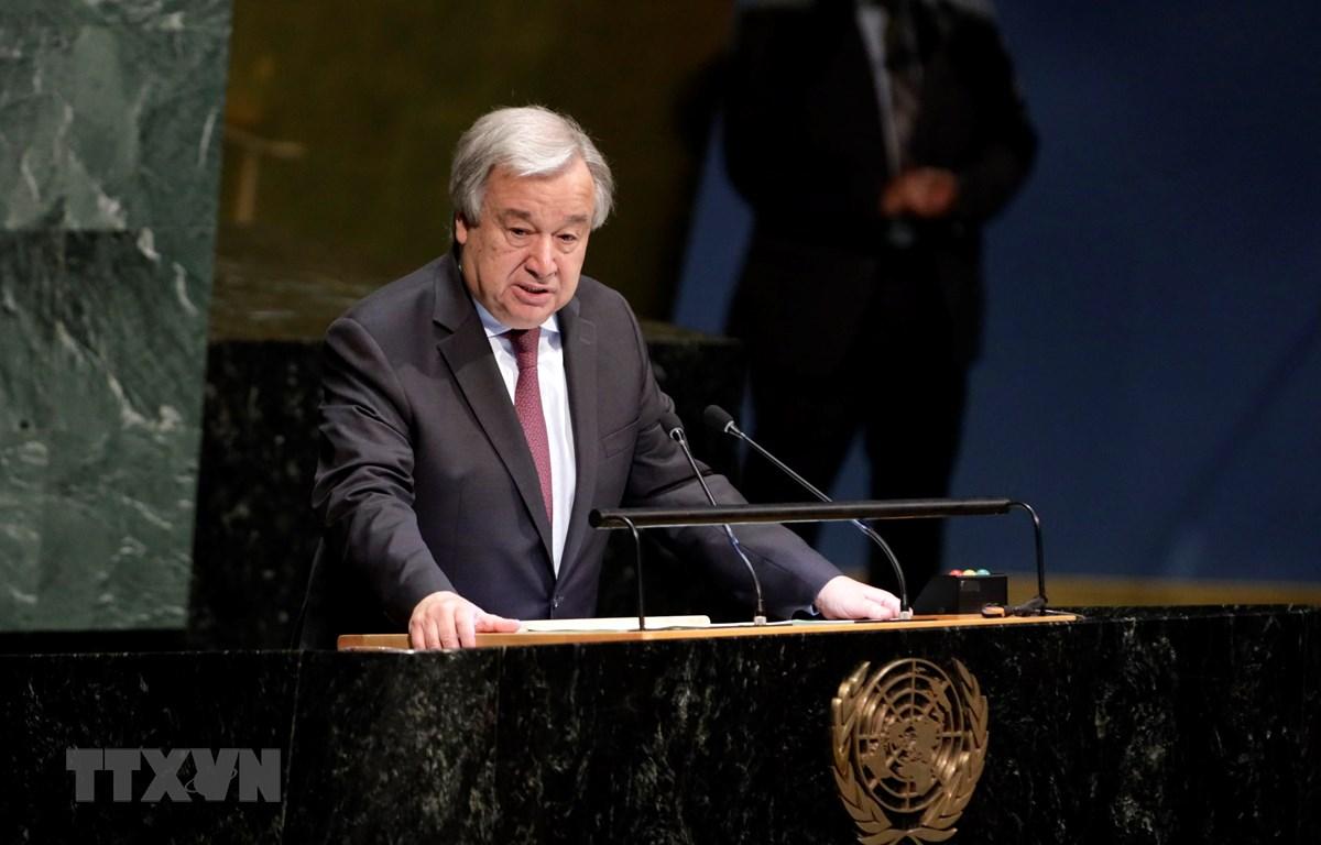 Tổng thư ký LHQ Antonio Guterres phát biểu tại cuộc họp ở New York, Mỹ, ngày 4/6. (Ảnh: THX/TTXVN)