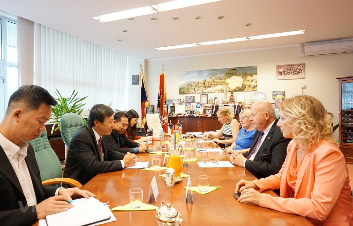 Quang cảnh buổi làm việc giữa Đại sứ Hồ Minh Tuấn và Chủ tịch tỉnh Oldřich Bubeníček. (Ảnh: Hồng Kỳ/Vietnam+)