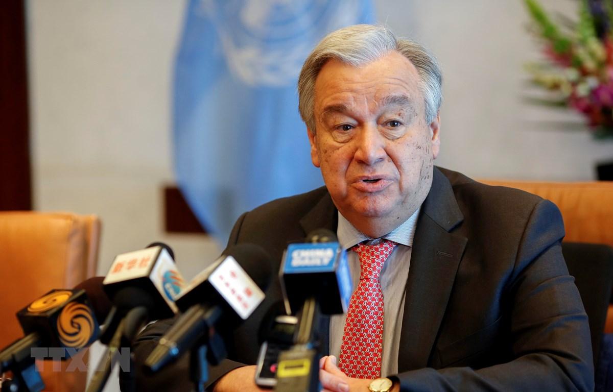 Tổng thư ký LHQ Antonio Guterres phát biểu trong cuộc họp báo tại New York, Mỹ. (Ảnh: THX/TTXVN)