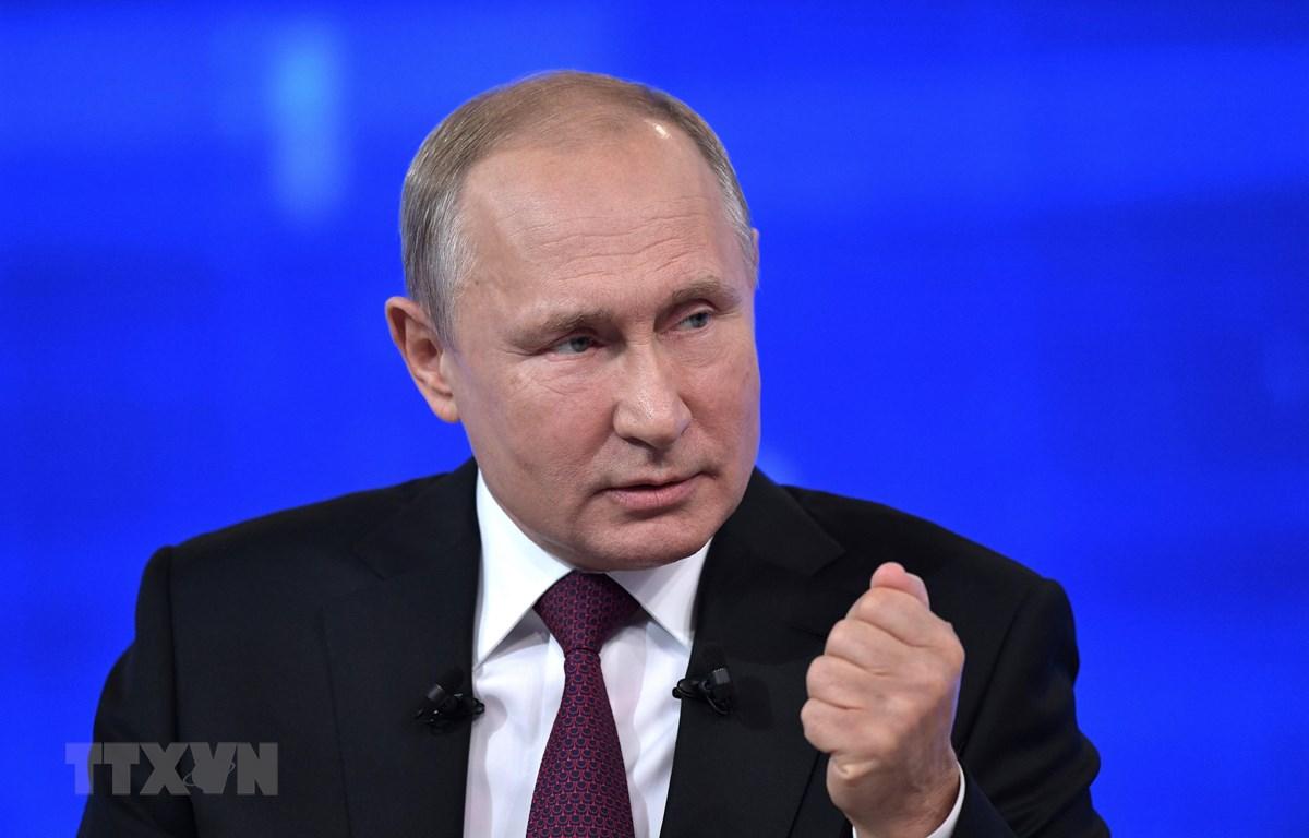 Tổng thống Nga Vladimir Putin trong cuộc đối thoại trực tuyến với người dân ở thủ đô Moskva, ngày 20/6/2019. (Ảnh: AFP/TTXVN)