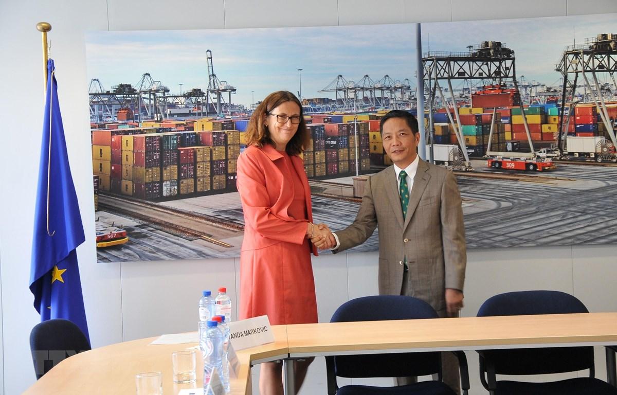 Bộ trưởng Công Thương Việt Nam Trần Tuấn Anh và Cao ủy Liên minh châu Âu phụ trách thương mại Cecilia Malmström trong phiên làm việc kết thúc quá trình rà soát pháp lý EVFTA ngày 25/6/2018 tại Bỉ. (Ảnh: Kim Chung/TTXVN)