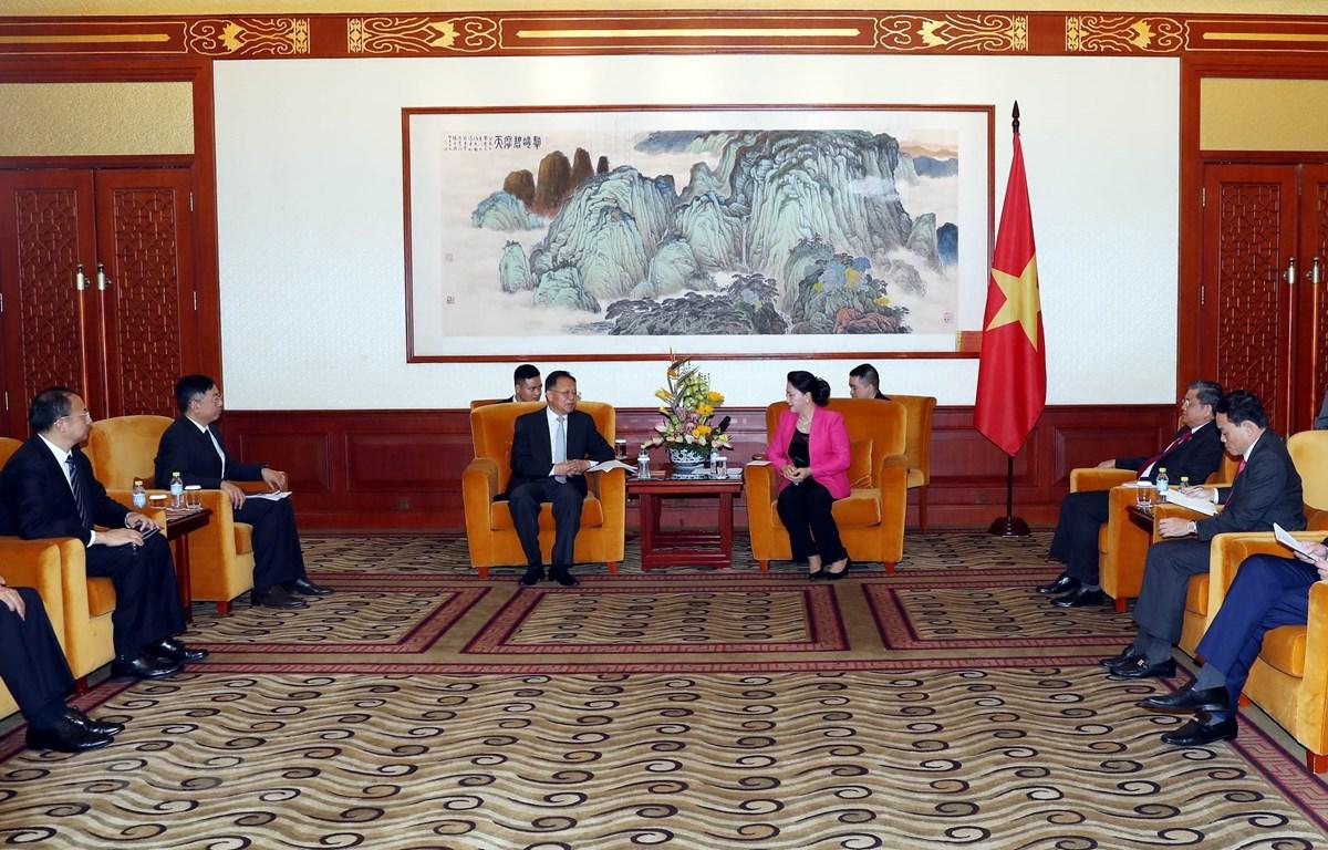 Chủ tịch Quốc hội Nguyễn Thị Kim Ngân tiếp Chủ tịch HĐQT Tập đoàn xây dựng năng lượng Trung Quốc. (Ảnh: Trọng Đức/TTXVN)