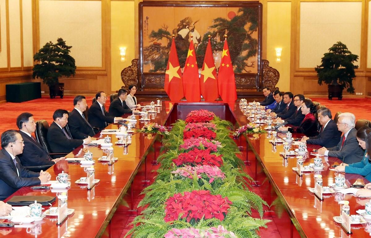 Chủ tịch Quốc hội Nguyễn Thị Kim Ngân hội kiến Tổng Bí thư, Chủ tịch nước CHND Trung Hoa Tập Cận Bình. (Ảnh: Trọng Đức/TTXVN)