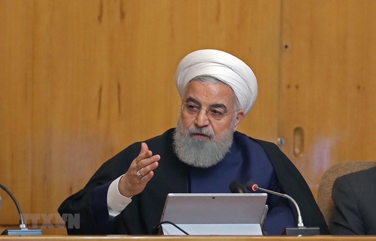 Tổng thống Iran Hassan Rouhani phát biểu tại một sự kiện ở Tehran ngày 8/5/2019. (Ảnh: AFP/TTXVN)