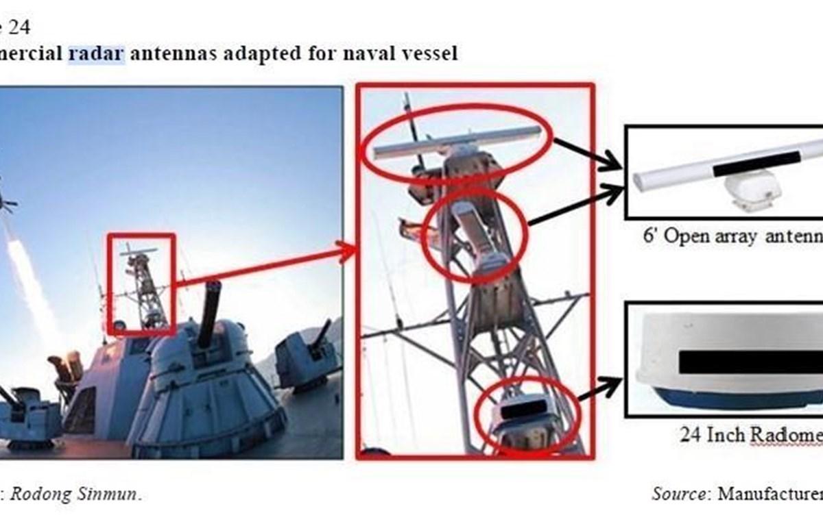 Một thiết bị ăngten radar thương mại của Nhật Bản được sử dụng trên tàu thủy của hải quân Triều Tiên. Giới chức Nhật Bản cáo buộc một số nguyên liệu chiến lược của nước này xuất khẩu sang Hàn Quốc đã được chuyển đến Triều Tiên. (Ảnh: YONHAP/TTXVN)