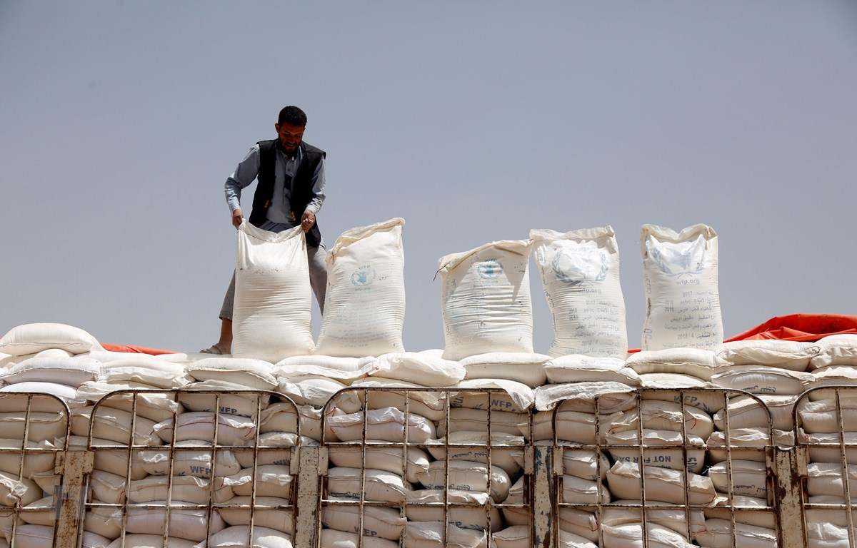 Lương thực viện trợ cho người dân Yemen từ Chương trình Lương thực Thế giới (WFP) được đưa tới thủ đô Sanaa ngày 23/6/2019. (Ảnh: THX/TTXVN)