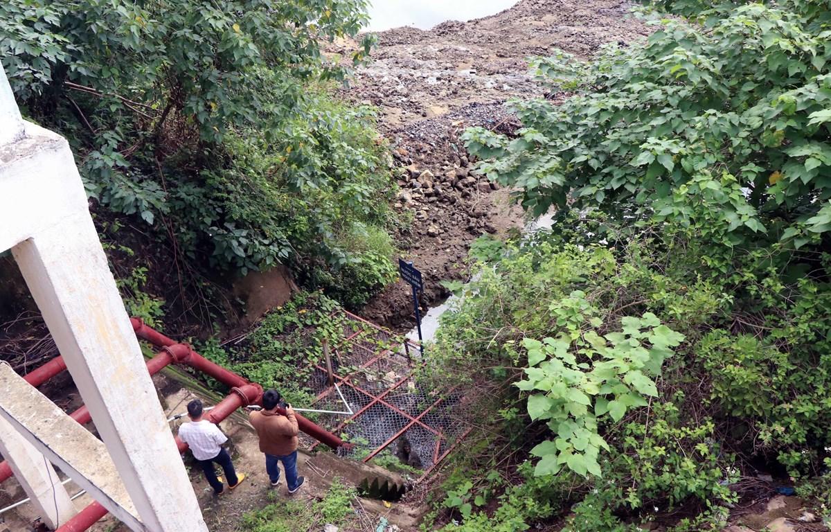 Trạm bơm D12 ven sông Krông Nô, cấp nước cho khoảng 120ha lúa tại xã Quảng Phú, bị hụt nước do quá trình thi công thủy điện Chư Pông Krông. (Ảnh: Hưng Thịnh/TTXVN)