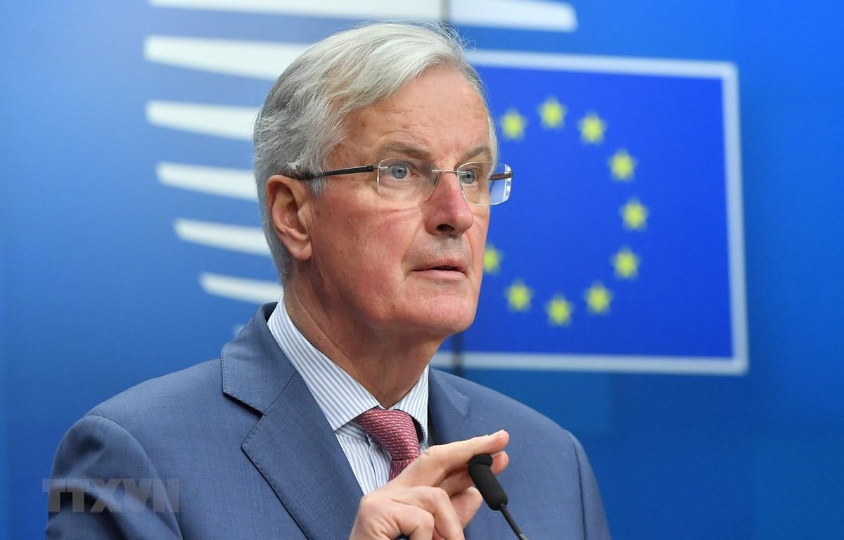 Trưởng đoàn đàm phán của EU về Brexit, ông Michel Barnier phát biểu tại cuộc họp báo ở Brussels, Bỉ ngày 19/3/2019. (Ảnh: AFP/TTXVN)