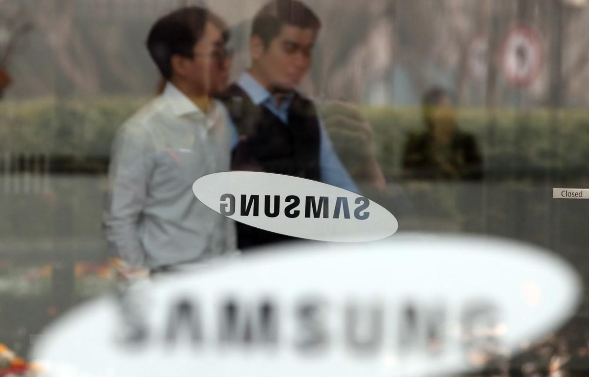 Biểu tượng Samsung tại trụ sở ở Seoul, Hàn Quốc. (Ảnh: Yonhap/TTXVN)