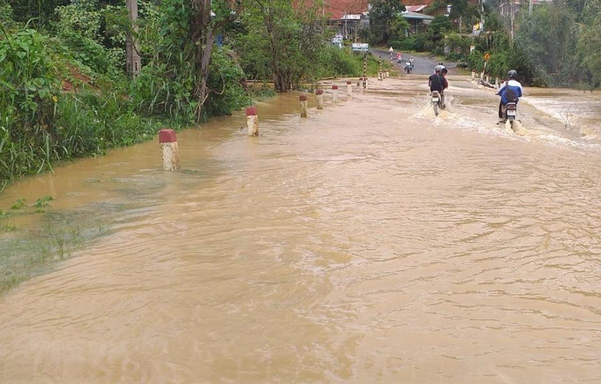 Mưa lớn kéo dài gây ngập nặng tại các huyện phía Nam của tỉnh Lâm Đồng. (Ảnh: Nguyễn Dũng/TTXVN)