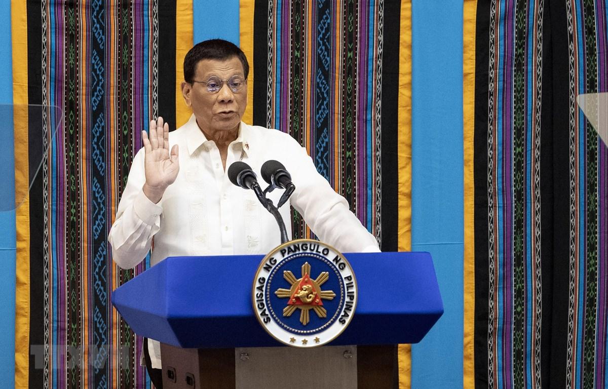 Tổng thống Philippines Rodrigo Duterte phát biểu trước Quốc hội tại thủ đô Manila ngày 22/7/2019. (Ảnh: AFP/TTXVN)