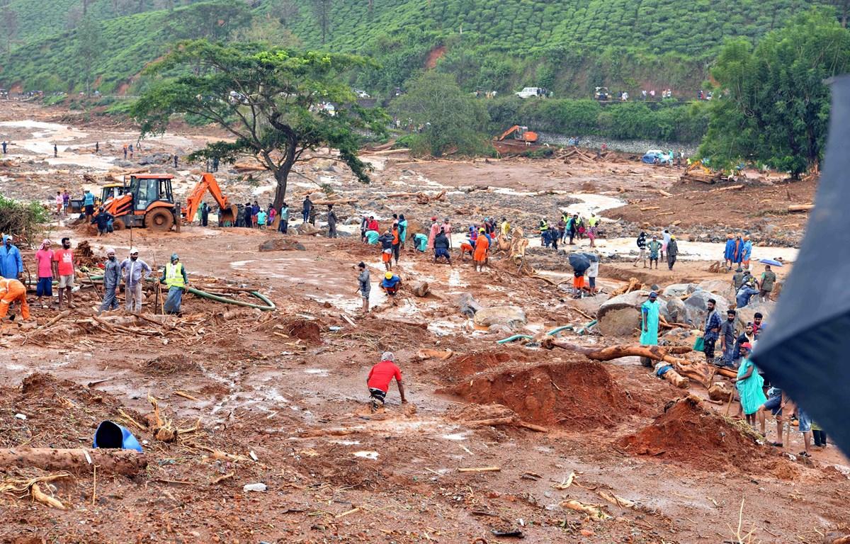 Hiện trường vụ lở đất do mưa lũ tại Kerala, Ấn Độ, ngày 11/8/2019. (Ảnh: THX/TTXVN)