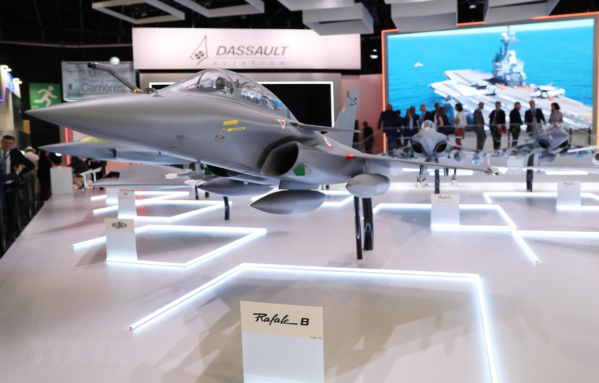 Mẫu máy bay Dassault Rafale được trưng bày tại Triển lãm hàng không quốc tế Paris ở sân bay Le Bourget, gần Paris, Pháp ngày 17/6/2019. (Ảnh: THX/TTXVN)