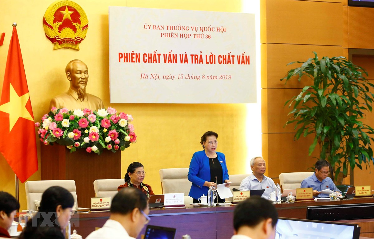 Chủ tịch Quốc hội Nguyễn Thị Kim Ngân phát biểu khai mạc Phiên chất vấn và trả lời chất vấn. (Ảnh: Văn Điệp/TTXVN)
