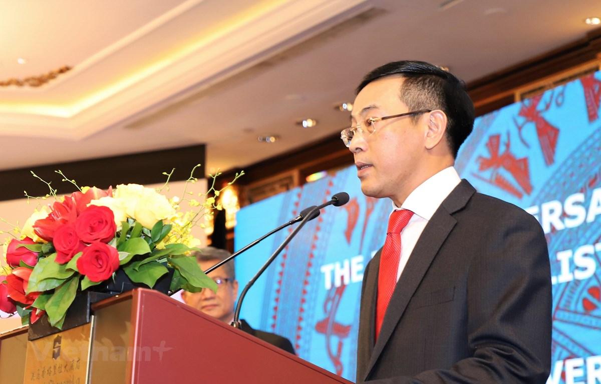 Tổng Lãnh sự Trần Thanh Huân phát biểu tại buổi lễ. (Ảnh: PV/Vietnam+)