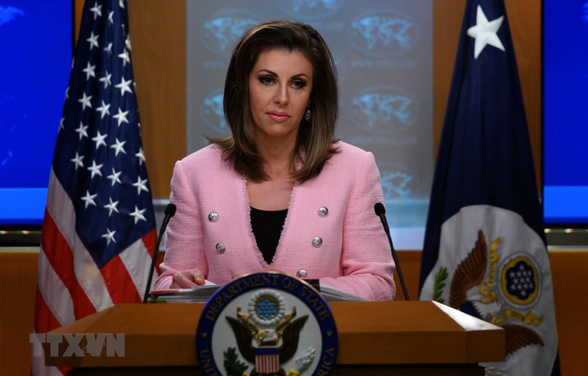 Người phát ngôn Bộ Ngoại giao Mỹ Morgan Ortagus. (Ảnh: AFP/TTXVN)