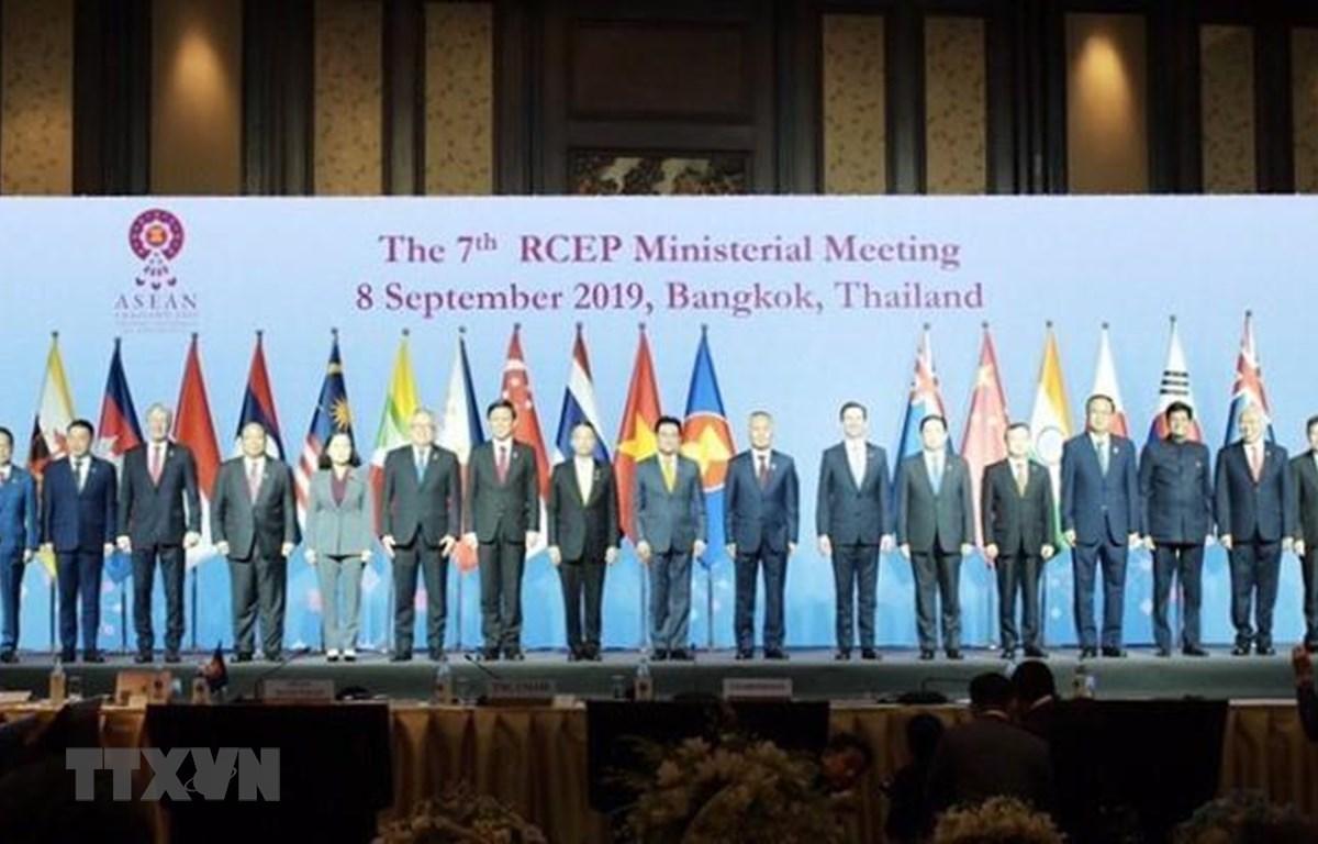 Các Bộ trưởng và trưởng đoàn phụ trách kinh tế, thương mại của các nước tham gia RCEP chụp ảnh chung. (Ảnh: TTXVN)