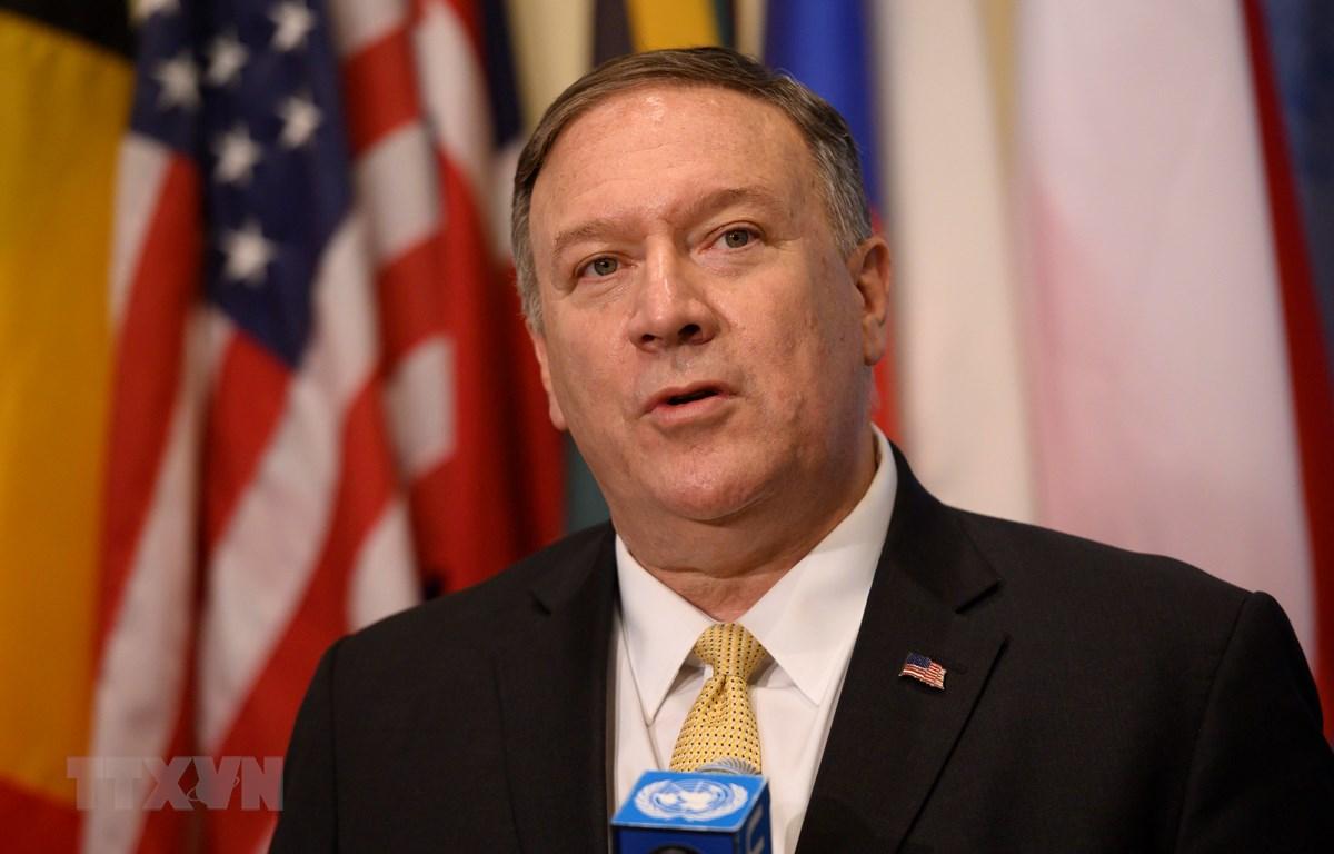 Ngoại trưởng Mỹ Mike Pompeo phát biểu tại cuộc họp báo ở New York ngày 20/8/2019. (Ảnh: AFP/TTXVN)
