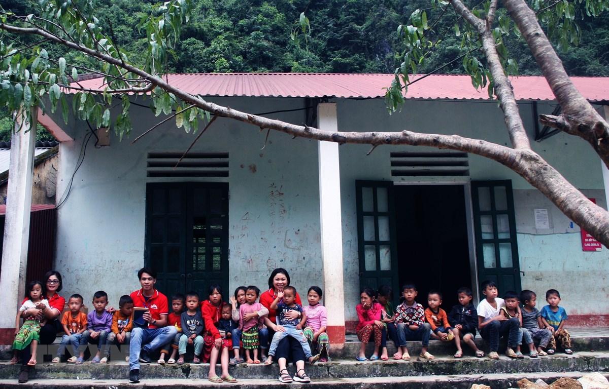 Điểm trường Sảng Pả của Trường Tiểu học Phố Cáo, huyện Đồng Văn, tỉnh Hà Giang. (Ảnh: Trần Quang Vinh/TTXVN)