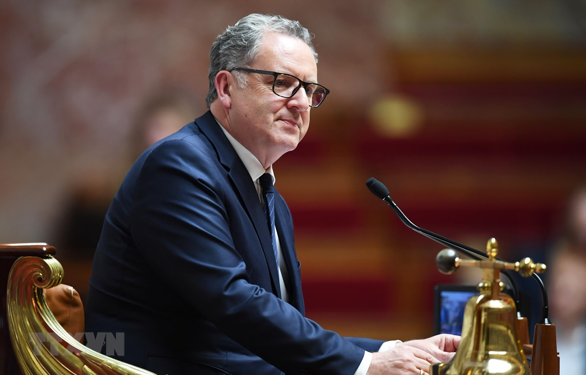 Chủ tịch Quốc hội Pháp Richard Ferrand tại một phiên họp ở Paris ngày 10/9/2019. (Ảnh: AFP/TTXVN)