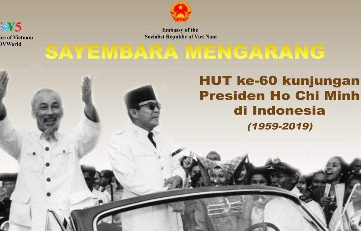 Tranh cổ động Cuộc thi viết về chuyến thăm lịch sử của Chủ tịch Hồ Chí Minh tới Indonesia. (Ảnh: Hữu Chiến/TTXVN)