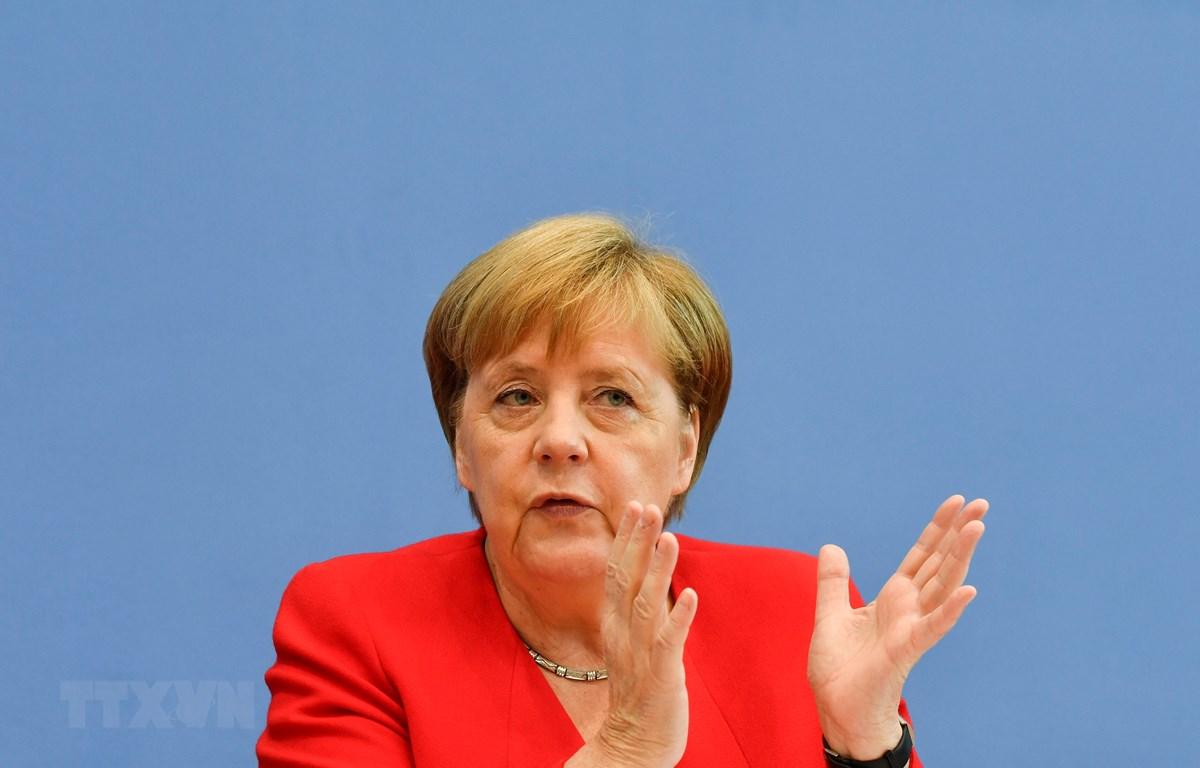 Thủ tướng Đức Angela Merkel phát biểu tại cuộc họp báo ở Berlin ngày 19/7/2019. (Ảnh: AFP/TTXVN)