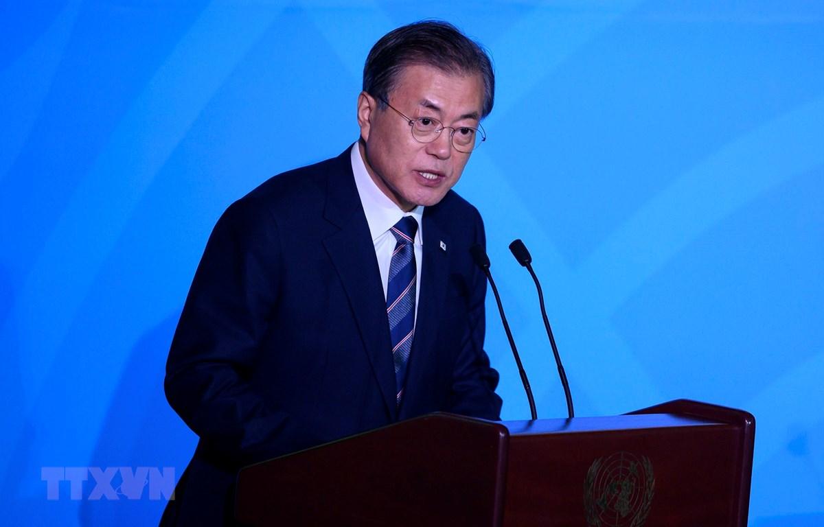 Tổng thống Hàn Quốc Moon Jae-in. (Ảnh: AFP/TTXVN)
