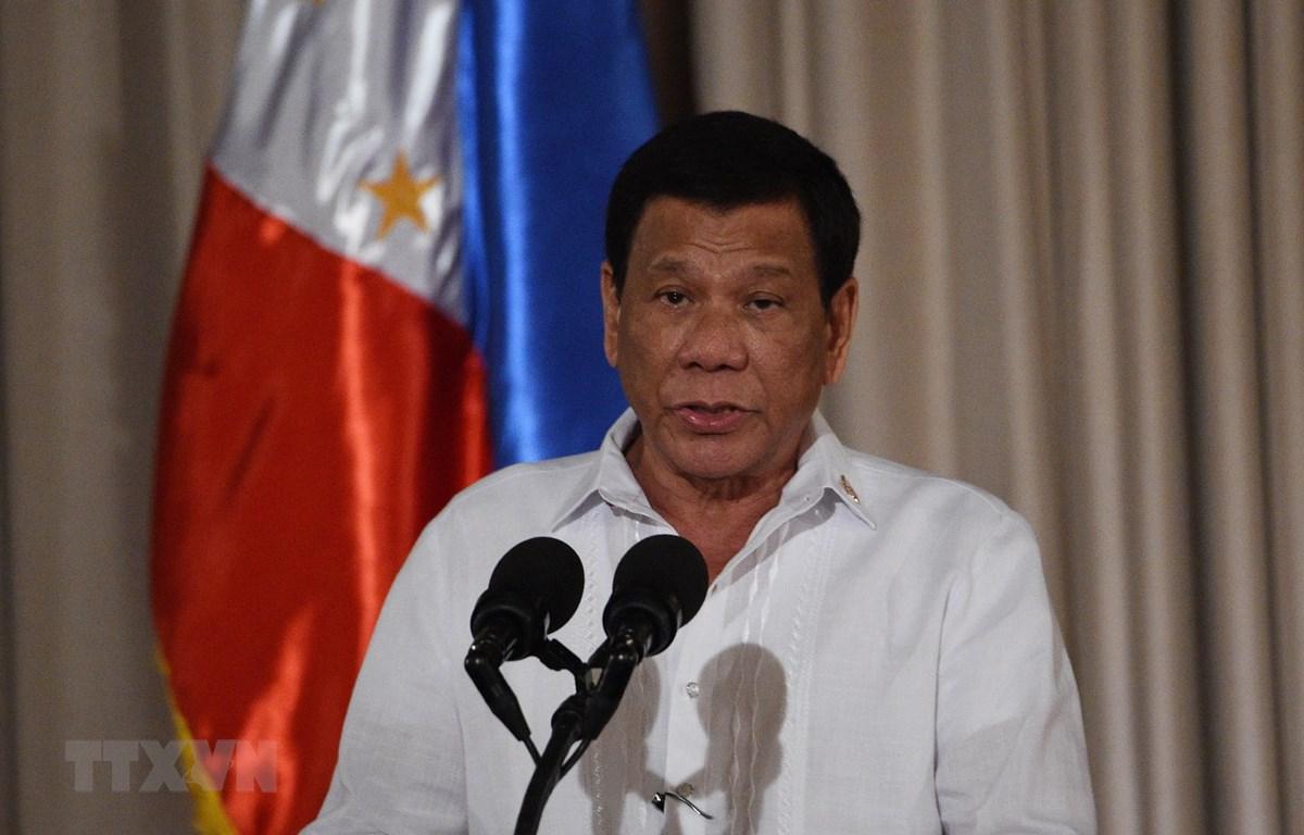 Tổng thống Philippines Rodrigo Duterte phát biểu tại Manila. (Ảnh: AFP/TTXVN)