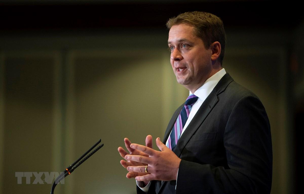 Thủ lĩnh đảng Bảo thủ đối lập ở Canada Andrew Scheer phát biểu tại Montreal ngày 7/5/2019. (Ảnh: AFP/TTXVN)