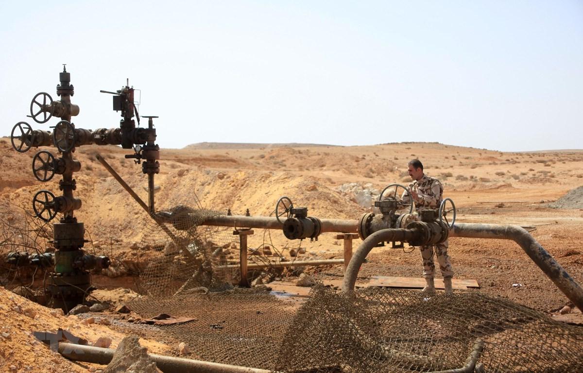 Đường ống dẫn dầu tại một giếng dầu gần thành phố Palmyra, tỉnh Homs, Syria. (Ảnh: AFP/ TTXVN)