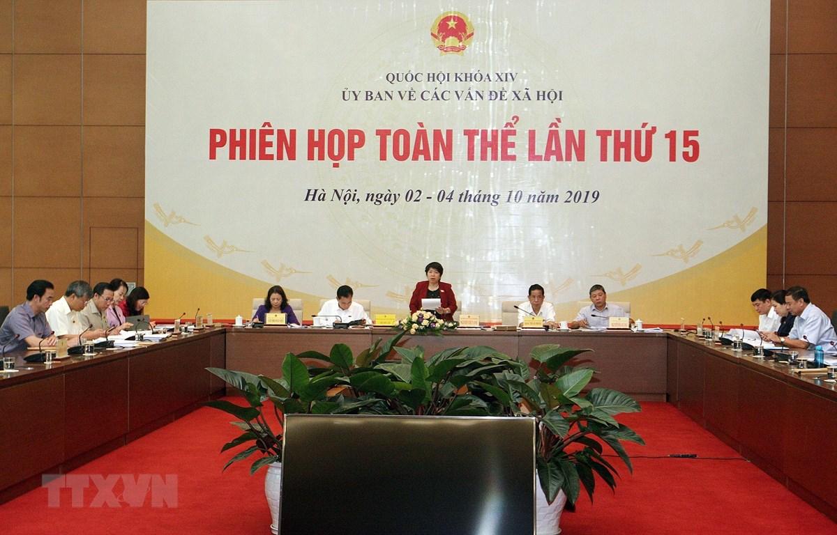 Chủ nhiệm Ủy ban Các vấn đề xã hội của Quốc hội Nguyễn Thúy Anh phát biểu. (Ảnh: Nguyễn Dân/TTXVN)