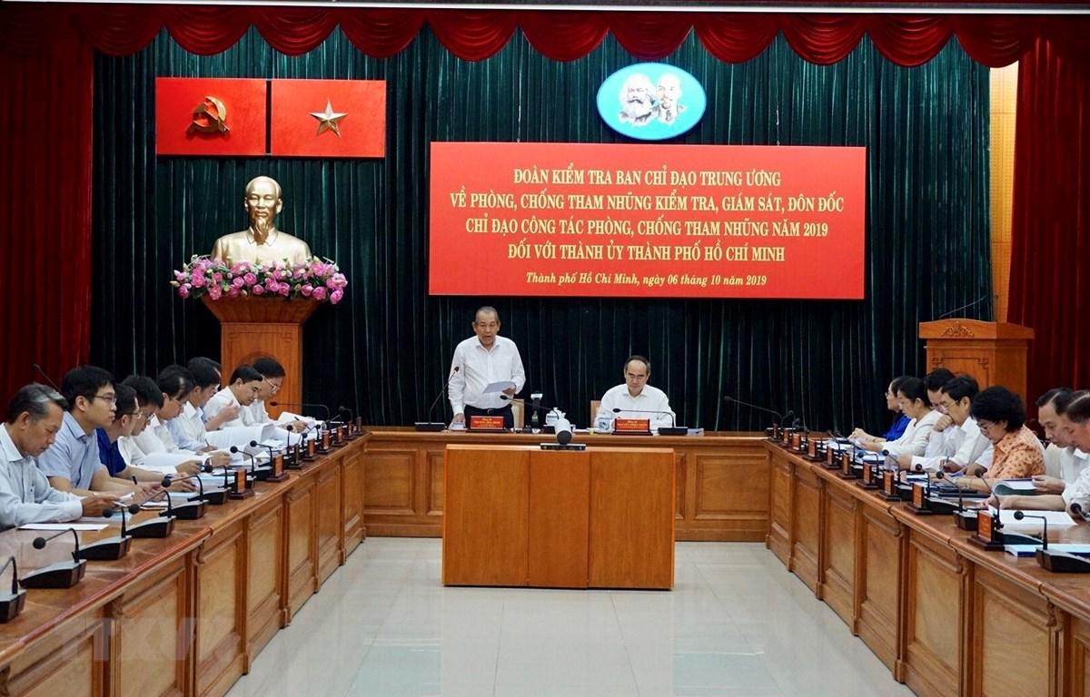 Ban Chỉ đạo Trung ương về Phòng, chống tham nhũng làm việc với Thành ủy Thành phố Hồ Chí Minh để kiểm tra, giám sát, đôn đốc chỉ đạo công tác phòng, chống tham nhũng năm 2019. (Ảnh: Anh Tuấn/TTXVN)