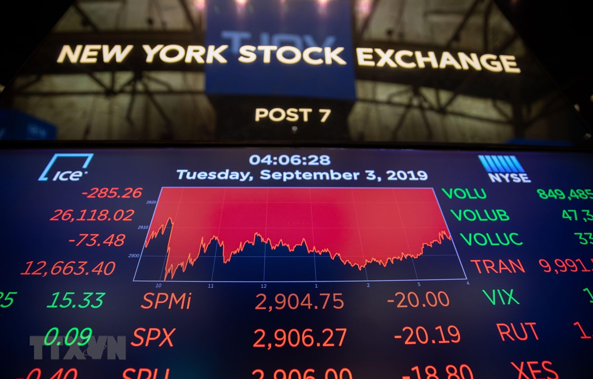 Sắc đỏ trên sàn giao dịch chứng khoán New York, Mỹ. (Ảnh: THX/TTXVN)