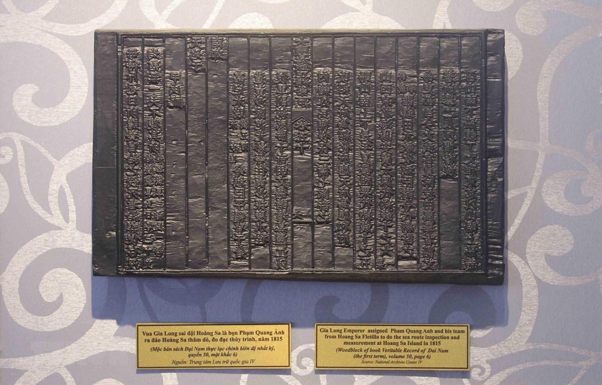 Mộc bản triều Nguyễn về chủ quyền Hoàng Sa, Trường Sa của Việt Nam được UNESCO công nhận là Di sản tư liệu Thế giới. (Ảnh: TTXVN)