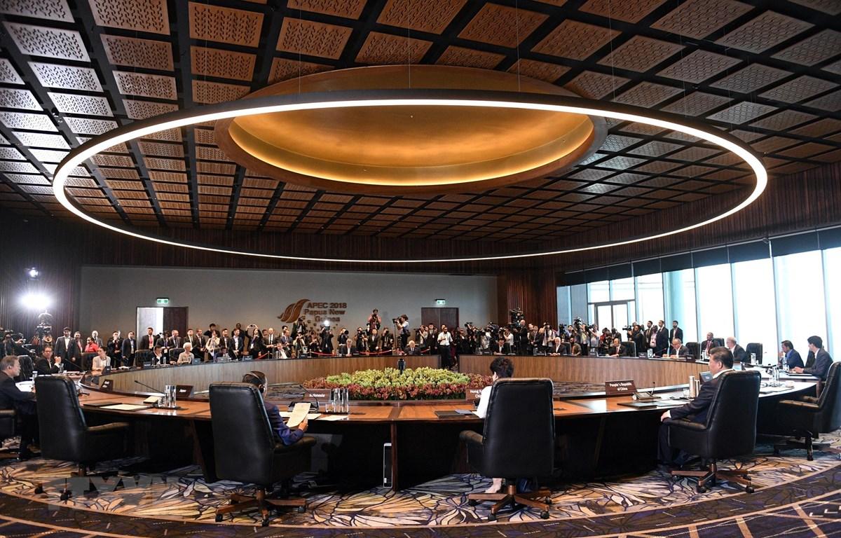 Toàn cảnh một phiên họp của Hội nghị Cấp cao Diễn đàn Hợp tác Kinh tế châu Á-Thái Bình Dương (APEC) lần thứ 26 ở thủ đô Port Moresby, Papua New Guinea ngày 18/11/2018. (Ảnh: AFP/TTXVN)